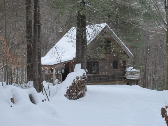 Cabin in the snowy woods. Cute as a button.