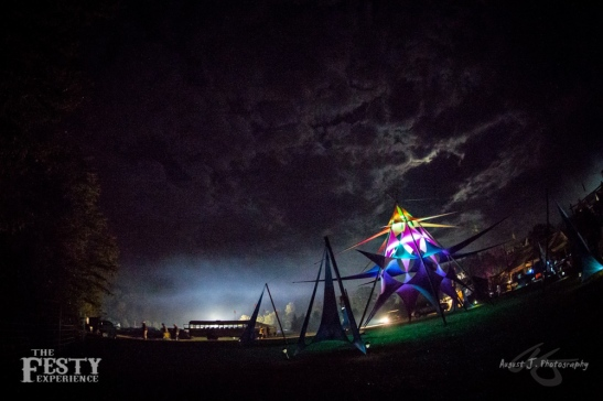 The Cosmic Temple at Night: Spandex shade structure (The Festy, Oct 2012)