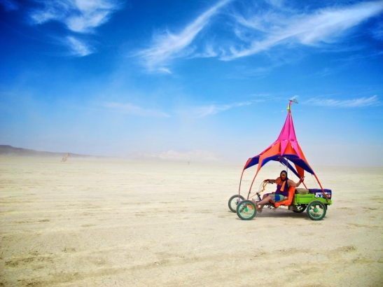 This is Petunia. Our pedal art car for Burning Man 2014.