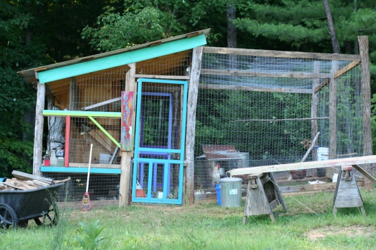 La Casa Grande de Pollo. Aka Our Chicken Coop. I designed and built it, mostly from scavenged parts.