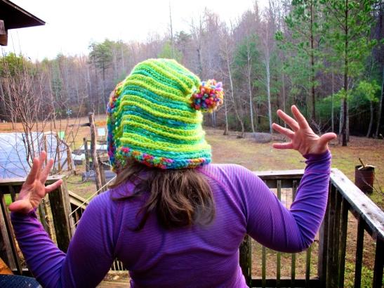 Crochet Elf Hood Hat made from handspun (not by me) yarn.